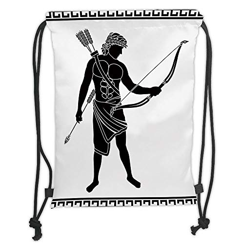 nted Drawstring Sack Backpacks Bags,Toga Party,Hellenic Bowman Silhouette Eros Fantasy Gladiator Old Mediterranean Print Decorative,Black and White Soft Satinr ()
