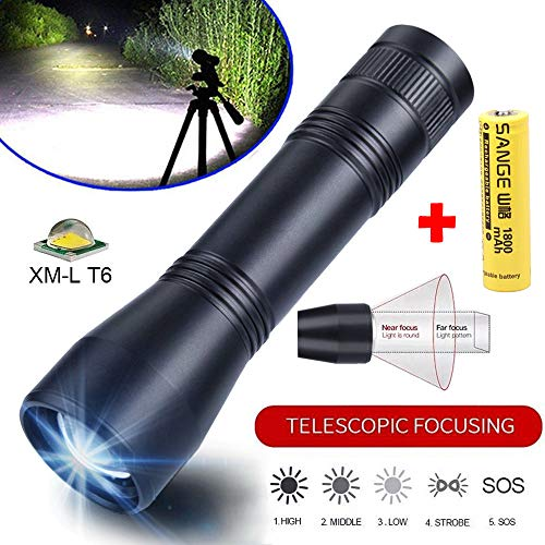 huichang Lampe de Poche LED Ultra Lumineuse avec Fonction Zoom T6 1000 LM 5 Modes avec Batterie