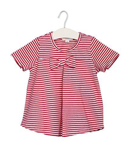 Oceankids Kleiner Mädchen Rot Baumwoll Marine Style Streifen T-Shirt mit Bowknot 3T 3 Jahre (Force Air Kleinkinder T-shirt)