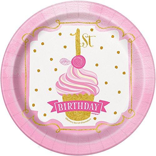 18cm rosa und Gold Mädchen 1. Geburtstag Party Teller, 8Stück ()