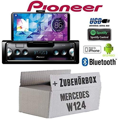 Mercedes W124 - Autoradio Radio Pioneer SPH-10BT - Smartphone Empfänger mit Bluetooth | Spotify | Android | iPhone | 4x50Watt Einbauzubehör - Einbauset - Caraudio-empfänger