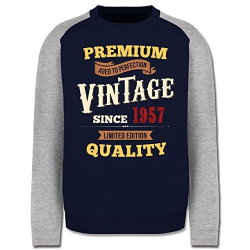 Geburtstag - 60. Geburtstag Vintage 1957 - Herren Baseball Pullover Navy Blau/Grau Meliert