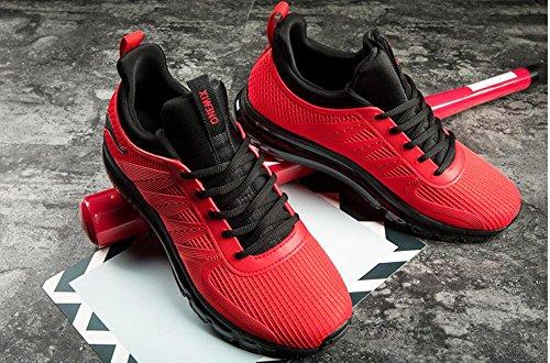 ONEMIX Homme Femme Air Chaussures de course running Sport Compétition Trail Mixte Adulte ete Baskets Basses BlackRed