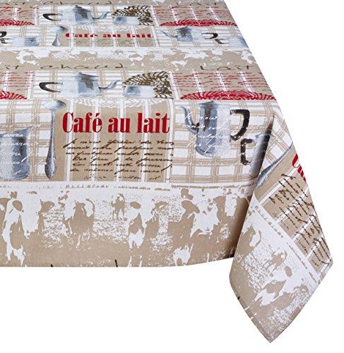 Lovely Casa n64896001Milch Tischdecke aus recycelter Baumwolle ecru/weiß/rot 140x 140cm