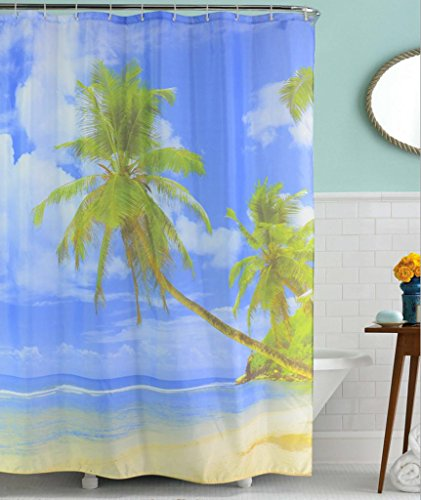 GYMNLJY Coconut Beach poliestere di stampa tenda doccia Bagno Doccia Ombra per vasca da bagno tagliato Hanging tenda lavabile , 180x200