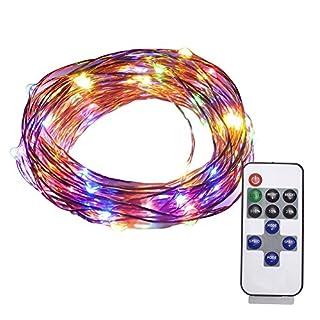 LED-Lichterkette, Alfa Beleuchtung, 10 m, 100 LEDs, Sternenlichter, Fernbedienung, USB-betriebenes Kupferdraht, wasserdicht, Lichterkette für Terrasse, Hochzeit, Weihnachten (mehrfarbig) Usb-multi-color