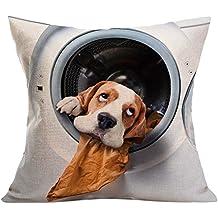 Suave Gránulos Decorativo Cuadrado Funda de Almohada Cojín para sofá Dormitorio Coche,Vintage lindo perro