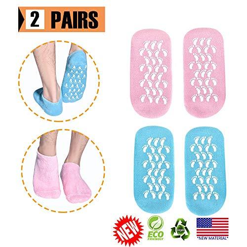 Feuchtigkeitsspendende Socken, 2 Paar Feuchtigkeitsspendende Gel-Socken, Gel-Spa-Socken zur Reparatur und Erweichung trockener, rissiger Fußhaut, Gel-Futter mit ätherischen Ölen und Vitaminen -