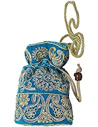 Women's Designer Multi Color Jardosh Embroidery Raw Silk Potli Bag With String - Handbag/Clutch/Return Gift Bags...