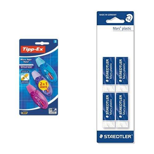 Kit di cancelleria (Bic Tipp-Ex Micro Tape Twist 3 correttori a nastro & Staedtler 4 Gomme)