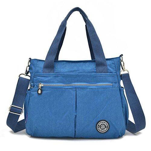 Grande borsa da donna con portachiavi a forma di scimmia, multitasche, borsa a tracolla impermeabile Sea Blue
