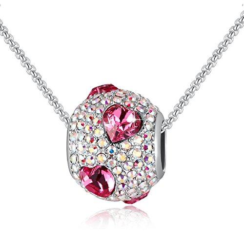 Vita colorata - charms bead da donna - collana ragazze con cristalli swarovski® - collana con pendenti gemelli in zircone - moda gioielli regali (rosa cuore)