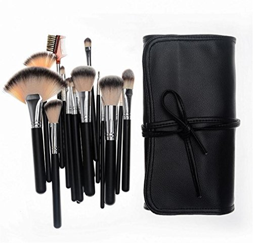 NWYJR Make Up Brushes Makeover Brush Ensemble de manche en bois naturel Kits de maquillage MakeUp MakeUp Kits Kits de maquillage pour le visage et visage Soft Soft avec sac en cuir souple , A