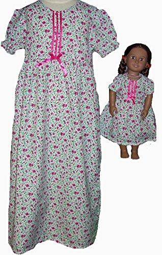 Doll Clothes Superstore Größe 10 passendes Mädchen und Puppe Himbeerblume Nachthemd (Empire Nightgown)