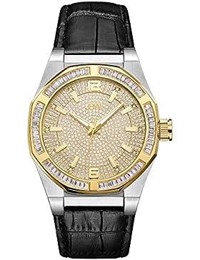 JBW Herren Diamant Uhr mit Swarovski Crystals silber gold