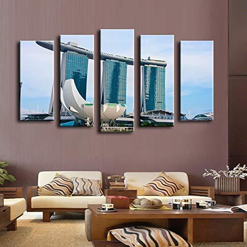 Bzdmly 5 piezas de pintura de pared de Singapur para la decoración casera pintura al óleo arte de la pared lienzo Foto de la pared-A