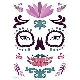 axusndas - Adhesivos de Cara Temporal para Halloween, diseño de Calavera de azúcar, diseño Floral, para Disfraz de araña, Sangre, Cicatrices, murciélagos, 06#