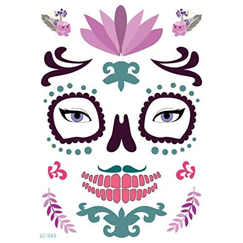 Gesicht Narbe Kostüm - axusndas Halloween temporäre Gesicht Aufkleber, Floral Day der Toten Zuckerschädel Gesicht Tattoo Kit Maskerade Requisiten Spinne, Blut, Narbe, Bat Kostüm Tattoos