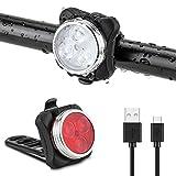 Komake Fahrradlicht LED Set, Wasserdicht Fahrradlicht Fahrradbeleuchtung, USB Wiederaufladbare Frontlicht und Rücklicht mit 4 Licht-Modus & 2 USB Kabel für Fahrrad Radfahren