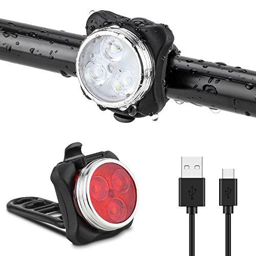 Jooheli Fahrradlicht LED Set, Fahrradlicht Fahrradbeleuchtung, Wasserdicht LED Fahrradlampenset, USB Wiederaufladbare Frontlicht und Rücklicht mit 4 Licht-Modus & 2 USB Kabel für Fahrrad Radfahren (Wiederaufladbare Led-fahrrad-licht)