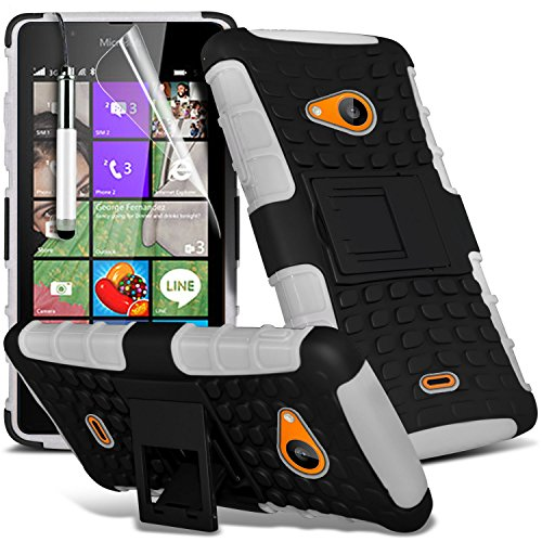 ONX3® (weiß) Microsoft Lumia 540 Dual Sim Hülle Abdeckung Cover Case schutzhülle Tasche Custom Made Fall nach Maß Tough Survivor Fest Rugged Shock Proof Heavy Duty Case W / Back Stand, LCD Display Schutzfolie, Poliertuch und Mini versenkbaren Stylus Pen