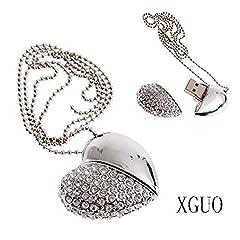Idea Regalo - XGUO Gioielli Chiavetta USB 32GB Cuore di Metallo di Memoria usb con Cordino Argento (32GB)
