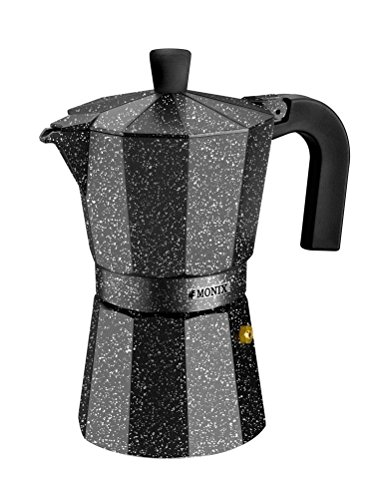 Monix Vitro Rock – Cafetera Italiana de Aluminio, Capacidad 9 Tazas, Apta para Todo Tipo de cocinas Salvo inducción