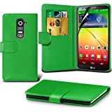 ( Green ) LG G2 Ledergeldbörse Flip Hülle Tasche Mit-Schirm-Schutz-Schutz By i-Tronixs