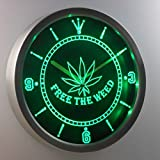 nc0040-g Free the Weed Marijuana High Life Neon Sign LED Wall Clock Uhr Leuchtuhr/ Leuchtende Wanduhr