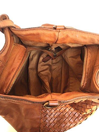 Superflybags Borsa A Spalla In Vera Pelle Vintage Intrecciata modello Granada Made In Italy cognac