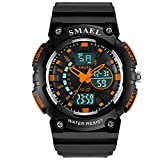 Adisaer Armbanduhren Jungs Wasserdicht Kinder Uhr Nightlight Wecker Schwarz Orange Outdoor Sportuhr Armbanduhr Automatikuhr