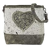 Domelo Damen Ledertasche Umhängetasche Schultertasche Crossbody Tasche Trachtentasche Dirndltasche in Retro Style mit Kuhfell