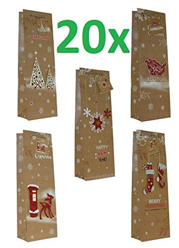 Preisvergleich Produktbild 20 Stück Geschenktüten Flaschentüten, Weihnachten,Handmade Applikationen Maße: 36X13x8,5cm