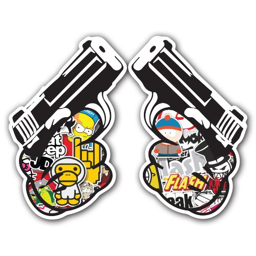 pistol-sticker-bomb-decal-series-cartoon-graffiti-car-wrap-laptop-jdm-skateboard-snowboard-vinyl-ipa