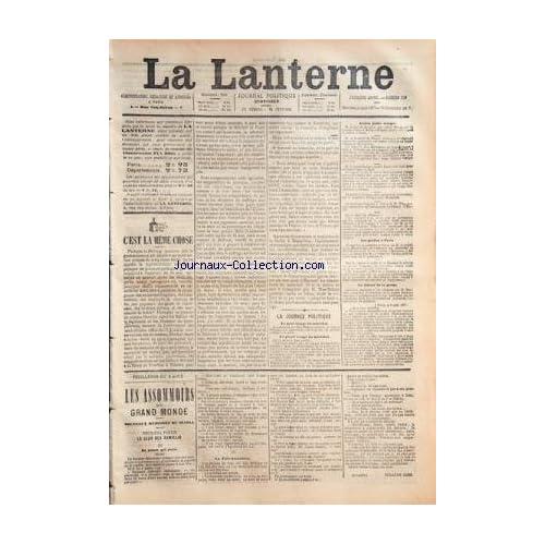 LANTERNE (LA) [No 109] du 08/08/1877 - LA JOURNEE POLITQUE / LA LIBERTE DE LA PRESSE - LES PREFETS DE PARIS - LES ASSOMMOIRS DU GRAND MONDE PAR WILILAM COBB