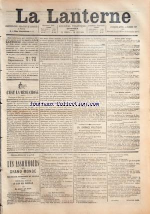 LANTERNE (LA) [No 109] du 08/08/1877 - LA JOURNEE POLITQUE / LA LIBERTE DE LA PRESSE - LES PREFETS DE PARIS - LES ASSOMMOIRS DU GRAND MONDE PAR WILILAM COBB par Collectif