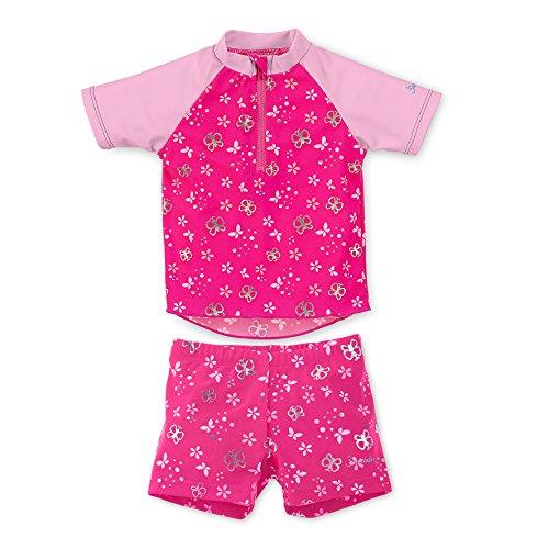 Sterntaler Kinder Mädchen 2-teiliger Schwimmanzug mit Windeleinsatz, Kurzarm-Badeshirt und Bade-Shorts, UV-Schutz 50+, Alter: 6-12 Monate, Größe: 74/80, Pink/Rosa