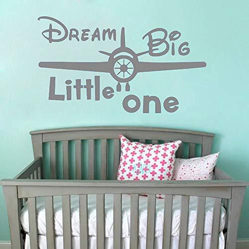 Aufkleber für Kinder Jungen Zimmer Cartoon Nette Inspirierende zitate Traum Big Little One Flugzeug Wandaufkleber wohnkultur aufkleber G 58 * 100 cm -