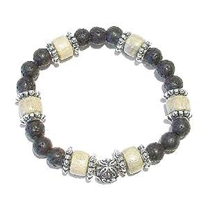 Men's Gemstone Stretch Bracelet - Lava & Pale Wood Approx. 21cm