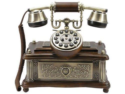 Pfiffig-Wohnen Antikes Telefon 1903 Handarbeit Holz + Messing