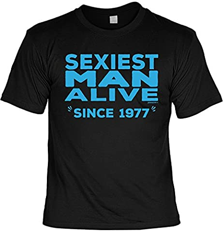 T-Shirt zum 40. Geburtstag Sexiest Man Alive Since 1977 Geschenk zum 40 Geburtstag 40 Jahre Geburtstagsgeschenk 40-jähriger Gr: L