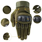 OMGAI Männer voller Finger militärische taktische Handschuhe des harten Knöchel mit Klettverschluss für Airsoft Armee Paintball Motorrad Outdoor Sports Armee Grün M - 4