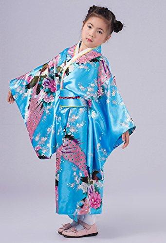 Yue Lian Mädchen Blumen&Pfau Kimono mit Obi-Gürtel Cosplay Yukata Japanisch (Höhe: 110-120cm, Blau) - 3