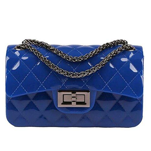 BYD Damen Mini PU Leder Gesteppt Handtasche Schultertaschen Ketten Tasche mit Steppmuster und Kettenhenkel Maedchen(Persisch Blau) (Gucci Echte Taschen)