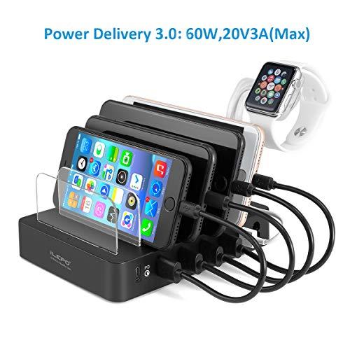 Multi USB Charger Caricabatterie USB-C PD 105W, Stazioni di Ricarica con 1 Porta PD di Tipo-C da 60W e 5 Porte USB da 45W per MacBook, Portatili con USB-C, Telefoni, Tablet.
