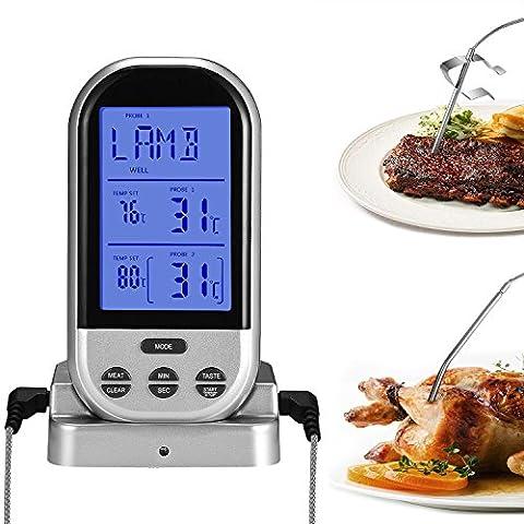 Thermomètre à 2 Capteurs,Thermometre Cuisine,Thermomètre de Cuisson,Thermomètre Patisserie,Thermometre Four,Thermometre Viande