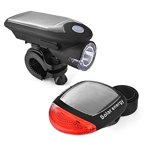 Ricaricabile solare bici luci bicicletta luce anteriore della lampada LED