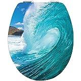 DIAQUA abattant WC avec système d'abaissement automatique Slow-Motion blanc Brillant Big Wave en MDF 100 %  FSC, 47 x 37,8 cm 31171703