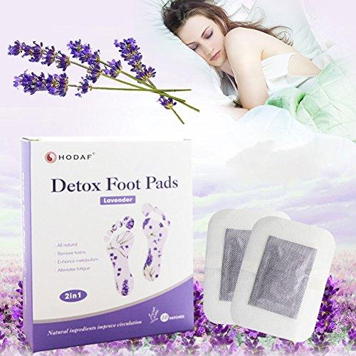 AOLVO 10PCS Detox Foot Patches, natürliche Detox Foot Pads Fuß Detox Patches Entgiften Toxine Cleansing Gewicht Verlust Stress Relief Health Care verbessern Sleep Qualität verbessern Durchblutung lavendel (Schwanger Migräne-kopfschmerzen)