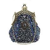 KAXIDY Damen Samen-Perlen Abendtasche Hochzeit Bead-hand-knit Abschlussball Party-Abend Handtasche (Blau)